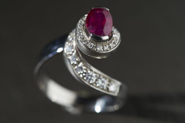 Bague Rubis Diamants