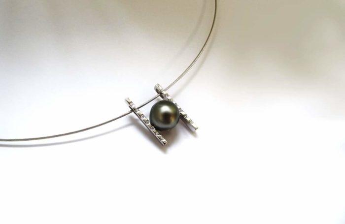 Pendentif Perle de Tahiti Diamants